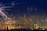 Fireworks Light the Sky Above Munich, Bavaria Photographic Print by Peter Kneffel