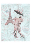 Romantic love Eiffel Prints by  OnRei