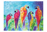 Parrot Parade Blue Print by Anne Ormsby