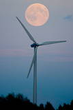 A Full Moon over a Windmill at Dusk Photographic Print by Patrick Peul