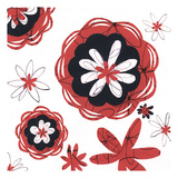Red and Black Blooms 2 Prints by Margaret Reule