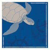 Blue Sea Turtle Posters van Lauren Gibbons