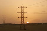 Electirical Power Lines Cross the Desert Near Saqqara Photographic Print by Mike Nelson