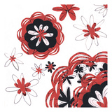 Red and Black Blooms 1 Poster by Margaret Reule