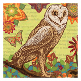 Floral Owl Flight Poster by Margaret Reule