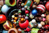 Assorted Range of Wooden Fashion Accessories Presented at a Stall in Channapatana Taluk, India Photographic Print by Manjunath Kiran