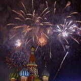 Fireworks Illuminate the Sky Above the St. Basil's Cathedral Photographic Print