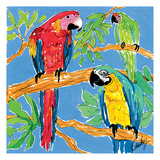 Three Parrots Print by Anne Ormsby