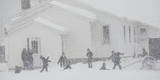Amish School Children Play in Snow Photographic Print by Jeffrey Phelps