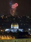 Fireworks Explode over the Old City of Jerusalem, Israel Photographic Print by Kobi Gideaon