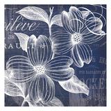 Indigo Fleurs Poster by  Ophelia & Co.