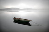A Row Boat Floats on the Banks of Foggy Edersee Lake Near Waldeck, Central Germany Photographic Print by Uwe Zucchi
