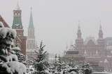 Trees Covered with Snow on the Red Square Photographic Print by Yuri Kochetkov