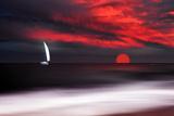 Philippe Sainte-Laudy - White sailboat and red sunset - Fotografik Baskı