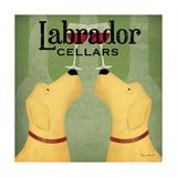 Ryan Fowler - Two Labrador Wine Dogs Square Plakát