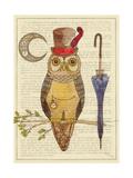 Steampunk Owl I Premium Giclee Print by Elyse DeNeige
