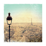 Eiffel Landscape Letter Blue I Prints by Sue Schlabach
