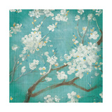 White Cherry Blossoms I on Blue Aged No Bird Prints by Danhui Nai