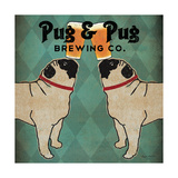 Pug and Pug Brewing Square Giclee Print by Ryan Fowler