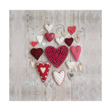 Red and White Hearts Giclee Print by Howard Shooter