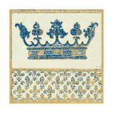 Regal Crown Indigo and Cream Giclee Print by Designs Meloushka