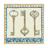 Regal Keys Indigo and Cream Giclee Print by Designs Meloushka