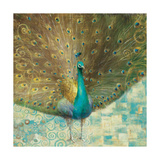 Teal Peacock on Gold Giclee Print by Danhui Nai