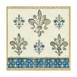 Regal Fleur de Lis Indigo and Cream Print by Designs Meloushka