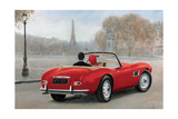 A Ride in Paris III Red Car Giclee Print by Marco Fabiano