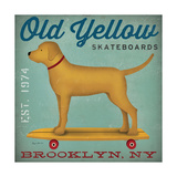 Golden Dog on Skateboard Póster por Ryan Fowler