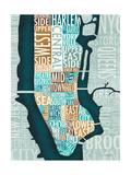 Manhattan Map Blue Brown Reproduction procédé giclée par Michael Mullan