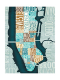 Manhattan Map Blue Brown Premium Giclee Print by Michael Mullan
