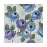 Blue Damask I on Ivory Giclee Print by Silvia Vassileva
