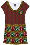 Womans: Christmas Bow Dress T-Shirt