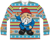 Long Sleeve: Ugly Christmas Gnome Sweater Costume Tee T-skjorter