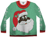 Long Sleeve: Black Santa Ugly Xmas Sweater Costume Tee Long Sleeves