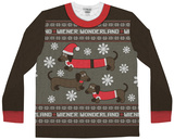 Long Sleeve: Wiener Wonderland Ugly Xmas Sweater Costume Tee Skjorter