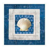 Sea Shell III on Blue Prints by Belinda Aldrich