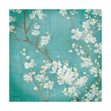 White Cherry Blossoms II on Blue Aged No Bird Prints by Danhui Nai