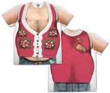 Hairy Chest and Belly Poinsettia Ugly Xmas Sweater Costume Tee T-Shirt