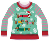Womans Long Sleeve: Wiener Wonderland Ugly Xmas Sweater Costume Tee Bluser