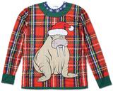 Long Sleeve: Plaid Walrus Ugly Xmas Sweater Costume Tee T-shirt