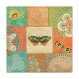 Folk Floral IV Center Butterfly Giclee Print by Daphne Brissonnet