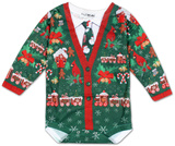 Infant: Ugly Xmas Cardigan Long Sleeve Romper Infant Onesie