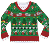 Womens Long Sleeve: Ugly Xmas Sweater with Cats Costume Tee Bluser