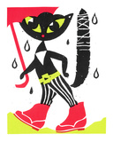 Rainy Day Cat Serigraph by  Print Mafia
