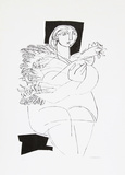 Woman holding a Rooster Collectable Print by Abraham Rattner