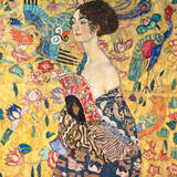 Dame mit Fächer Giclée-Premiumdruck von Gustav Klimt