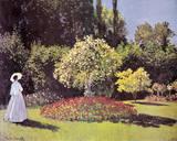 Lady in the Garden Giclée-Premiumdruck von Claude Monet