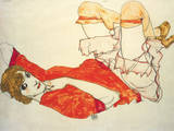 Wall in Roter Bluse mit Erhob. Premium Giclee Print by Egon Schiele
